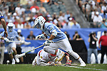 30 MAY 2016: Stephen Kelly (24) of the University of North Carolina wins the face off against Austin Henningsen (18) of the University of Maryland during the Division I Men's Lacrosse Championship held at Lincoln Financial Field in Philadelphia, PA. Larry French/NCAA Photos