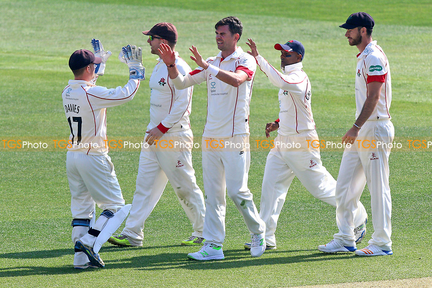 Jimmy Anderson of Lancashire celebrates taking the wicket of Ravi Bopara during Essex CCC vs Lancashire CCC, Specsavers County Championship Division 1 Cricket at The Cloudfm County Ground on 8th April 2017