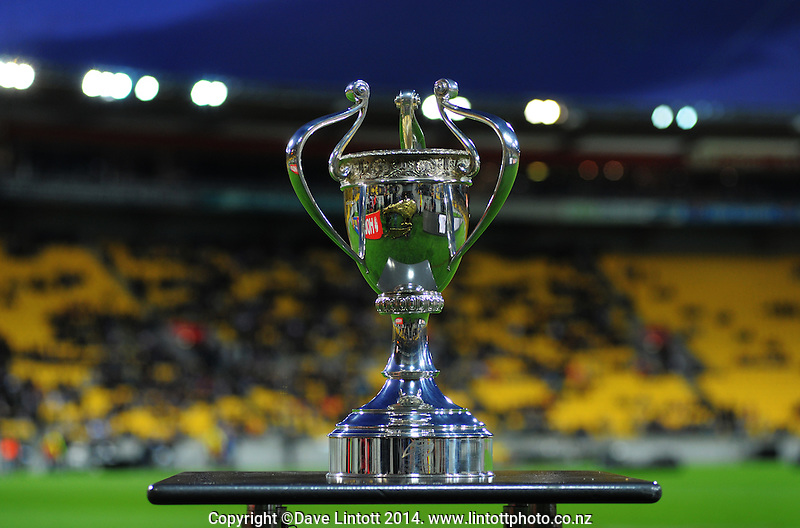The Four Nations trophy sits on display before the Four Nations rugby league final between the NZ Kiwis and Australia Kangaroos at Westpac Stadium, Wellington on Saturday, 15 November 2014. Photo: Dave Lintott / lintottphoto.co.nz