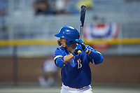 Matt Morales (21) of the Burlington Royals at bat against the Kingsport Mets at Burlington Athletic Stadium on July 27, 2018 in Burlington, North Carolina. The Mets defeated the Royals 8-0.  (Brian Westerholt/Four Seam Images)