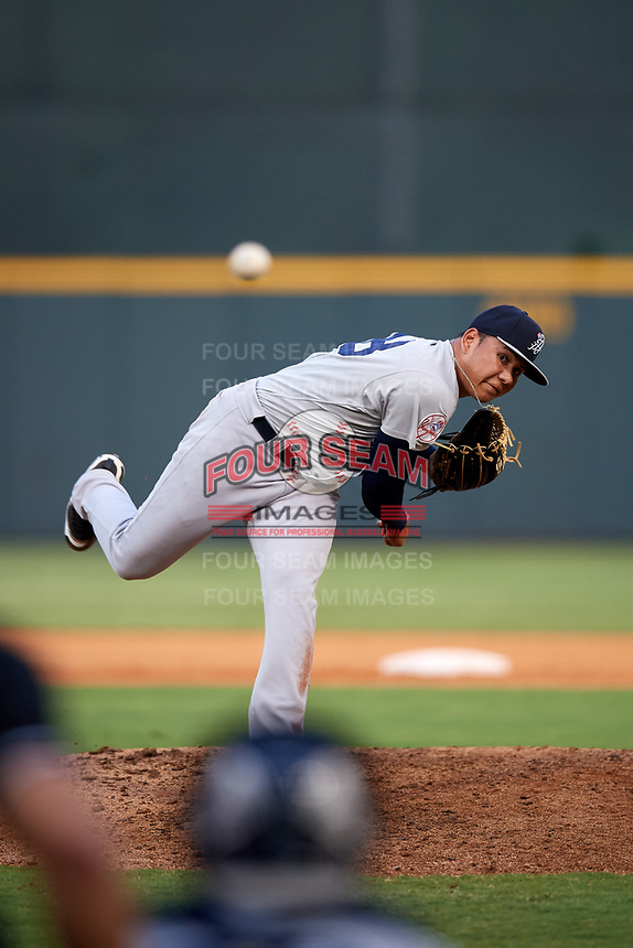 Pulaski Yankees relief pitcher Gilmael Troya (28) delivers a pitch during a game against the Greeneville Reds on July 27, 2018 at Pioneer Park in Tusculum, Tennessee.  Greeneville defeated Pulaski 3-2.  (Mike Janes/Four Seam Images)