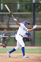 Jared Walker #36 of the AZL Dodgers bats against the AZL Athletics at Camelback Ranch on July 12, 2014 in Glendale, Arizona. AZL Athletics defeated the AZL Dodgers, 3-2. (Larry Goren/Four Seam Images)