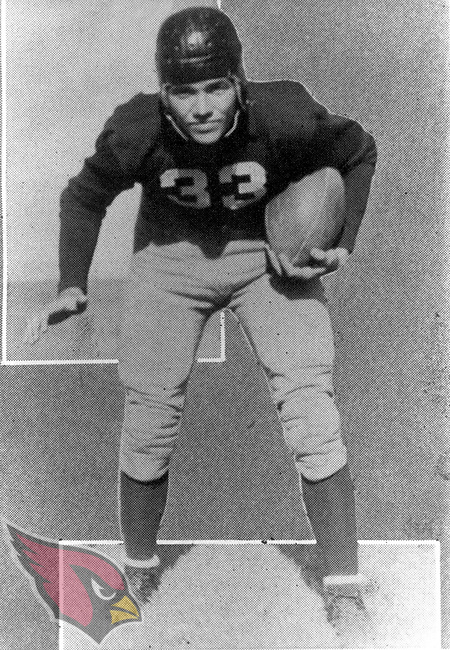 Doug Russell a running back for the Chicago Cardinals from 1934 through 1939 poses for a portrait. ©Pro Football Hall of Fame/NFL Photos