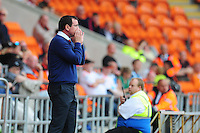 Blackpool manager Gary Bowyer shouts instructions to his team from the dug-out<br /> <br /> Photographer Kevin Barnes/CameraSport<br /> <br /> Football - The EFL Sky Bet League Two - Blackpool v Exeter City - Saturday 6th August 2016 - Bloomfield Road - Blackpool<br /> <br /> World Copyright &copy; 2016 CameraSport. All rights reserved. 43 Linden Ave. Countesthorpe. Leicester. England. LE8 5PG - Tel: +44 (0) 116 277 4147 - admin@camerasport.com - www.camerasport.com