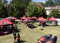 ATHENS, GA - SEPTEMBER 21: Georgia Bulldog fans tailgate during a game between Notre Dame Fighting Irish and University of Georgia Bulldogs at Sanford Stadium on September 21, 2019 in Athens, Georgia.