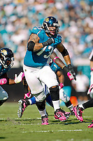 October 03, 2010:  Jacksonville Jaguars offensive tackle Eben Britton (73) during 1st half AFC South Conference action between the Jacksonville Jaguars and the Indianapolis Colts at EverBank Field in Jacksonville, Florida.   Jacksonville defeated Indianapolis 31-28........