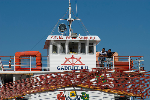 Pará State, Brazil. The Amazon River. The Gabriela II barge which carreid the Coração do Brasil to Belém.