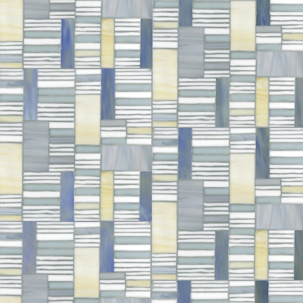 Kente, a hand-cut glass mosaic,  shown in Agate, Opal, Moonstone and Chalcedony, is part of the Erin Adams Collection for New Ravenna.