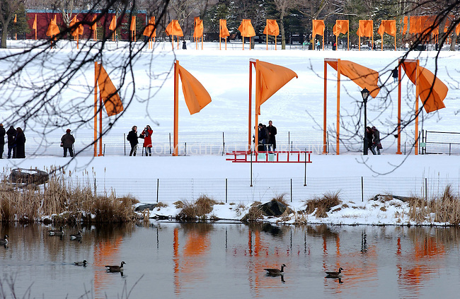 WWW.ACEPIXS.COM . . . . . ....NEW YORK, FEBRUARY 25, 2005....The beauty of Christo and Jeanne-Claude's art installation in snow covered Central Park.....Please byline: KRISTIN CALLAHAN - ACE PICTURES.. . . . . . ..Ace Pictures, Inc:  ..Philip Vaughan (646) 769-0430..e-mail: info@acepixs.com..web: http://www.acepixs.com
