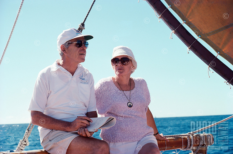 Will and Lee Kyselka aboard Polynesian voyaging canoe Hokule'a, December 1987.