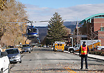 Careflight takes off during a Carson City armed assailant drill at the Carson City Courthouse in Carson City, Nev., on Saturday, Nov. 15, 2014.<br /> Photo by Cathleen Allison