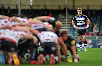 Alex O'Meara of Bath Rugby watches a scrum. West Country Challenge Cup match, between Gloucester Rugby and Bath Rugby on September 13, 2015 at the Memorial Stadium in Bristol, England. Photo by: Patrick Khachfe / Onside Images