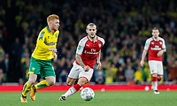 Jack Wilshere of Arsenal keeps eyes on the ball during the Carabao Cup match between Arsenal and Norwich City at the Emirates Stadium, London, England on 24 October 2017. Photo by Carlton Myrie.