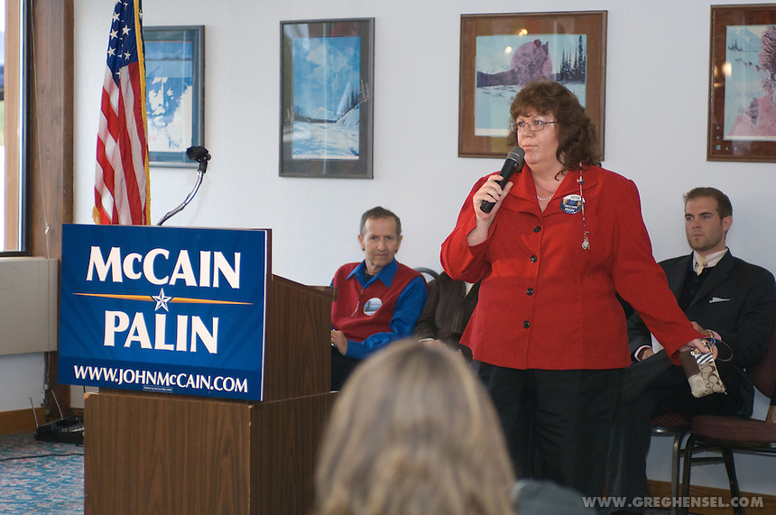 Wasilla Mayor Dianne Keller speaks in support of Sarah Palin at a rally near her home in Wasilla, Alaska.