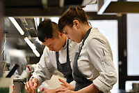 Modena, 23 February 2017 – Chefs at work during a lunch service at Osteria Francescana, Modena, Italy. Photo Sydney Low