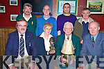 Killarney's Frank Switzer, third from left, who received presentations for his long service to Community Games, in Corkerys bar, Killarney on Tuesday night. Pictured with him are front  Mike Bourke,Margaret Culloty and Anthony Fitzsimons. Back, Maurice Switzer, Tony Burke, Shay Switzer and Jimmy Turner..