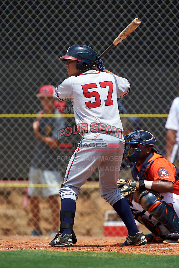 GCL Braves catcher Jonathan Morales (57) at bat during a game against the GCL Astros on July 23, 2015 at the Osceola County Stadium Complex in Kissimmee, Florida.  GCL Braves defeated GCL Astros 4-2.  (Mike Janes/Four Seam Images)
