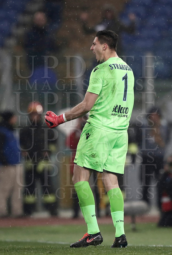 Football Soccer: Tim Cup semi-final second Leg, SS Lazio vs AC Milan, Stadio Olimpico, Rome, Italy, February 28, 2018.<br /> Lazio's goalkeeper Thomas Strakosha celebrates after saving a penalty during the shootout of the Tim Cup semi-final football match between SS Lazio vs AC Milan, at Rome's Olympic stadium, February 28, 2018.<br /> <br /> UPDATE IMAGES PRESS/Isabella Bonotto
