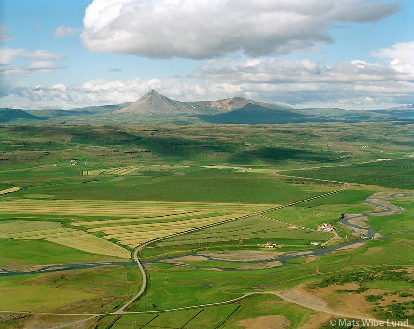 Norðtunga séð til norðvesturs, Þverárhlíðarhreppur /   Nordtunga viewing northwest, Thverarhlidarhreppur.  The new territory name: Borgarbyggð / Borgarbyggd