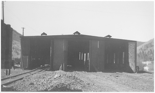 North-end view of the RGS Rico engine house with doors open.<br /> RGS  Rico, CO  Taken by Peyton, Ernie S. - 6/1945