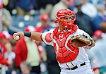 12 April 2012: Washington Nationals catcher Wilson Ramos in action against the Cincinnati Reds at Nationals Park in Washington, DC. The Nationals defeated the Reds 3-2 in 10 innings to take the first game of their 4-game series. Mandatory Credit: Ed Wolfstein Photo
