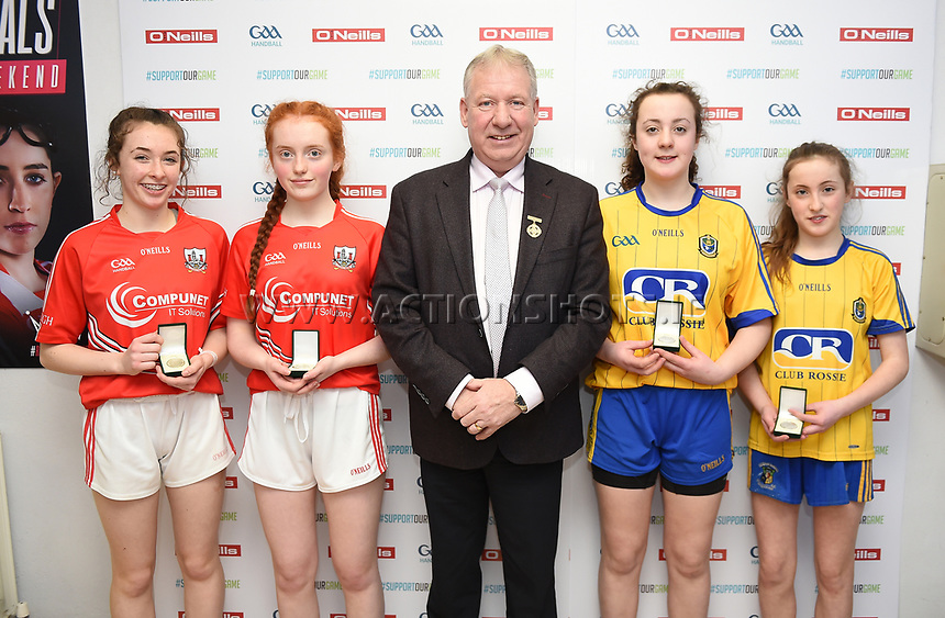 19/03/2018; 40x20 All Ireland Juvenile Championships Finals 2018; Kingscourt, Co Cavan;<br /> Girls Under-15 Doubles; Roscommon (Siobhan/Aishling Treacy) v Cork (Celine Kelleher/Muireann O&rsquo;Brien)<br /> Photo Credit: actionshots.ie/Tommy Grealy