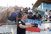 Cary, North Carolina  - Saturday August 19, 2017: Samantha Mewis takes a selfie with friends after a regular season National Women's Soccer League (NWSL) match between the North Carolina Courage and the Washington Spirit at Sahlen's Stadium at WakeMed Soccer Park. North Carolina won the game 2-0.