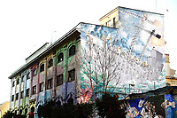 Title none, Artist Blu,<br /> Rome February 7th 2019. Street Art in Rome, Ostiense<br /> district. Very important writers painted Murales in various districts of Rome to tell stories about the city, to commemorate important moments, to embellish the quarter or simply to portray it.  <br /> Photo Samantha Zucchi Insidefoto