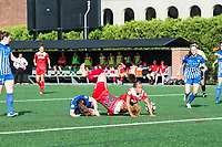 Boston, MA - Saturday July 01, 2017: Allysha Chapman, Tori Huster and Mallory Pugh during a regular season National Women's Soccer League (NWSL) match between the Boston Breakers and the Washington Spirit at Jordan Field.