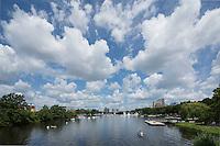 puffy clouds over Esplanade, sunday, Boston, MA