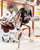 Meagan Mangene (BC - 24), Leah Sulyma (NU - 1) - The Boston College Eagles defeated the visiting Northeastern University Huskies 2-1 on Sunday, January 30, 2011, at Conte Forum in Chestnut Hill, Massachusetts.