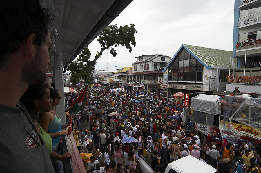 Buurenstraat, the main street in Paramaribo, Suriname on the day of the New Year celebration.  Suriname is South America's largest consumer of fireworks/firecrackers and famous for its New Years celebration during which dozens of people are injured each year and buildings often catch fire.