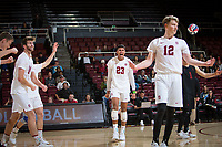 STANFORD, CA - January 17, 2019: Eric Beatty, Kyler Presho, Jaylen Jasper, Jordan Ewert at Maples Pavilion. The Stanford Cardinal defeated UC Irvine 27-25, 17-25, 25-22, and 27-25.