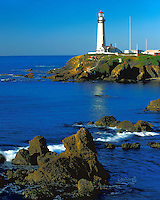 Morning light on the Pigeon point Lighthouse on the Pacific Ocean; Highway 1, CA