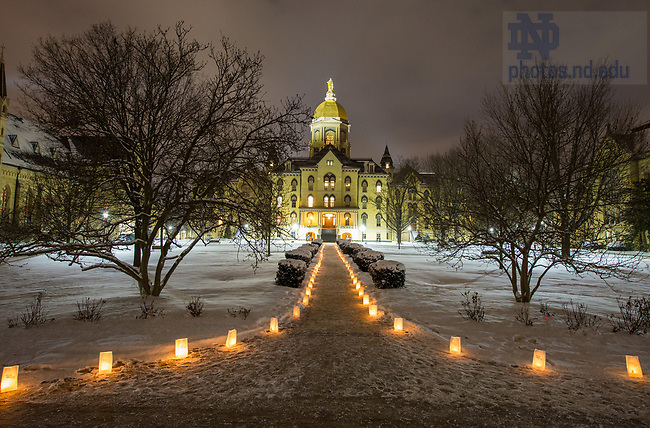 "January 15, 2018; Luminaries light Main Quad before a midnight prayer service in honor of the Rev. Martin Luther King Jr. holiday. The event also marked the beginning of ""Walk the Walk"" week, a series of events and observances to celebrate and reflect on diversity and inclusiveness. (Photo by Barbara Johnston/University of Notre Dame)"