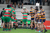 Luke Rosa prepares to throw to a lineout. Counties Manukau Premier Club Rugby game between Waiuku and Patumahoe, played at Waiuku on Saturday April 28th, 2018. Patumahoe won the game 18 - 12 after trailing 10 - 12 at halftime. <br /> Waiuku Brian James Contracting 12 - Apec Togafau, Nathan Millar tries, Christian Walker conversion.<br /> Patumahoe Troydon Patumahoe Hotel 18 - Vernon Comley, Riley Hohepa tries, Riley Hohepa conversion, Riley Hohepa 2 penalties.<br /> Photo by Richard Spranger