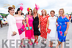 Deirdre Kelliher Mulivhill (Moyvane), Michelle Mulivhill (Moyvane), Joanne O'Flaherty (Listowel), Sharon Quilter (Mountcoal), Sheila O'Connell (Listowel), Theresa Dore (Listowel) and Lisa Breen (Listowel) attending Ladies Day at the Listowel Races on Sunday.