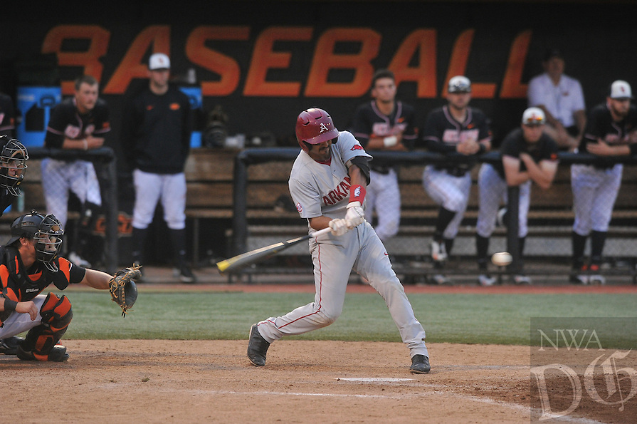 NWA Democrat-Gazette/MICHAEL WOODS --05/30/2015--w@NWAMICHAELW... University of Arkansas vs Oklahoma State University in Saturday evenings game of the NCAA Regional Baseball tournament at Allie P. Reynolds Stadium in Stillwater, Oklahoma.