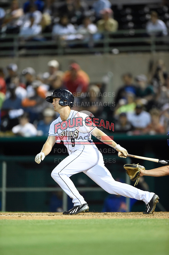 ***Temporary Unedited Reference File***San Antonio Missions center fielder Auston Bousfield (9) during a game against the Midland RockHounds on April 22, 2016 at Nelson W. Wolff Municipal Stadium in San Antonio, Texas.  San Antonio defeated Midland 8-4.  (Mike Janes/Four Seam Images)