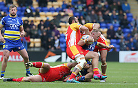 Warrington Wolves' Jason Clark is tackled by Catalans Dragons' Jason Baitieri Sam Kasiano and Michael McIlorum <br /> <br /> Photographer Stephen White/CameraSport<br /> <br /> Betfred Super League Round 17 - Warrington Wolves v Catalans Dragons - Saturday 8th June 2019 - Halliwell Jones Stadium - Warrington<br /> <br /> World Copyright © 2019 CameraSport. All rights reserved. 43 Linden Ave. Countesthorpe. Leicester. England. LE8 5PG - Tel: +44 (0) 116 277 4147 - admin@camerasport.com - www.camerasport.com
