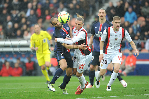 02.04.2016. Paris, France. French League 1 football. Paris St Germain versus Nice.  LUCAS MOURA (psg) and NIKLAS HULT (nice) get close to each other