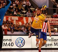 28.04.2012 MADRID, SPAIN -  EHF Champions League match played between BM At. Madrid vs  Cimos Koper (31-24) at Palacio Vistalegre stadium. The picture show Matjaz Mlakar (Center of Cimos Koper)