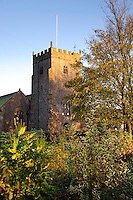 View of  St Bartholomew's Church, Chipping, Lancashire with evening autumn light.