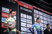 Podium with 2nd place finisher Baptiste Planckaert (BEL/Wallonie Bruxelles) and 3th place finisher Niki Terpstra (NED/Total Direct Energie)<br /> <br /> <br /> Circuit de Wallonie 2019<br /> One Day Race: Charleroi – Charleroi 192.2km (UCI 1.1.)<br /> Bingoal Cycling Cup 2019
