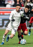 WASHINGTON, DC - FEBRUARY 29: Junior Moreno #5 of DC United and Younes Namli #21 of the Colorado Rapids battle for the ball during a game between Colorado Rapids and D.C. United at Audi Field on February 29, 2020 in Washington, DC.