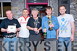 PRIZES:After the Rock Styreet Bars Race at Rock Street, Tralee on Monday as Pascal Power and Fergal O'Sullivan presented the prizes sponsored by the Castle Bar, l-r: Dominic O'Brien (3rd Castle Bar), Pascal Power), Jim Kelly 2nd Greyhound), John Evans (Joes Place 1st) and Fergal O'Sullivan (sponsores Castle Bar).
