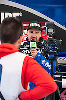 Yamaha rider in a interview at Spanish Motocross Championship at Albaida circuit (Spain), 22-23 February 2014