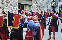 Medieval trumpeters, on feast day of St. Francis in his hometown of Assisi, Umbria, Italy, AGPix_0345.
