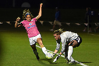 Kansas City, MO - Friday May 13, 2016: FC Kansas City forward Shea Groom (2) against Chicago Red Stars goalkeeper Alyssa Naeher (1) during a regular season National Women's Soccer League (NWSL) match at Swope Soccer Village. The match ended 0-0.