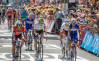 Julian Alaphilippe (FRA/Quick Step Floors) happy with the win of his teammate Fernando Gaviria (COL/Quick Step Floors)<br /> <br /> Stage 1: Noirmoutier-en-l'&Icirc;le &gt; Fontenay-le-Comte (189km)<br /> <br /> Le Grand D&eacute;part 2018<br /> 105th Tour de France 2018<br /> &copy;kramon